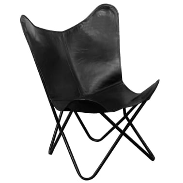 vidaXL Butterfly Chair Real Leather Black[1/5]