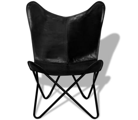 vidaXL Butterfly Chair Real Leather Black[2/5]