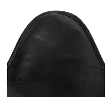 vidaXL Fladdermusfåtölj i äkta läder svart[4/5]