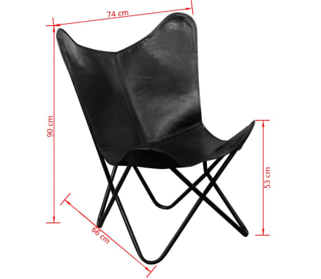 vidaXL Butterfly Chair Real Leather Black[5/5]