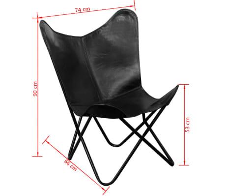 vidaXL butterflystol i ægte læder sort[5/5]