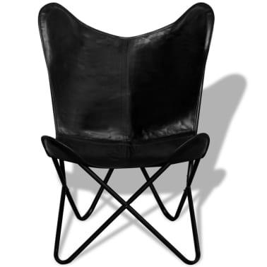 vidaXL Fladdermusfåtölj i äkta läder svart[2/5]