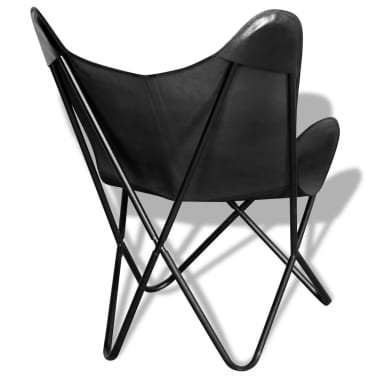 vidaXL Butterfly Chair Real Leather Black[3/5]