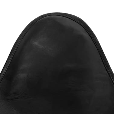 vidaXL Butterfly Chair Real Leather Black[4/5]