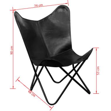 vidaXL Fladdermusfåtölj i äkta läder svart[5/5]
