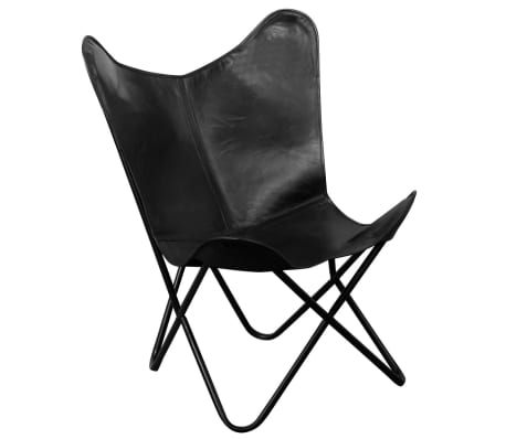 Details About VidaXL Butterfly Chair Real Leather Black Seat Lounger Sleeper Furniture Home