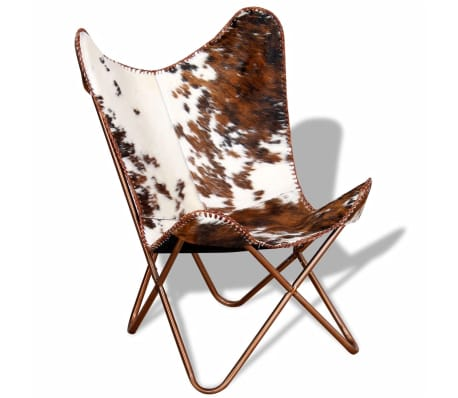 VidaXL Butterfly Chair Real Cowhide Leather Brown And White[1/10]