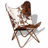 vidaXL Butterfly Chair Real Cowhide Leather Brown and White