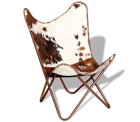 vidaXL Butterfly Chair Real Cowhide Leather Brown and White[2/10]