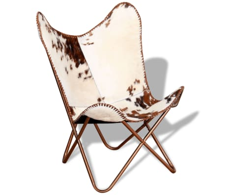 vidaXL Butterfly Chair Real Cowhide Leather Brown and White[3/10]