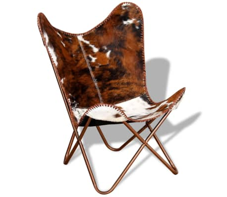vidaXL Butterfly Chair Real Cowhide Leather Brown and White[5/10]