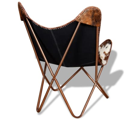 vidaXL Butterfly Chair Real Cowhide Leather Brown and White[7/10]