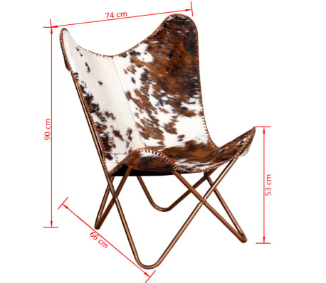 vidaXL Butterfly Chair Real Cowhide Leather Brown and White[10/10]