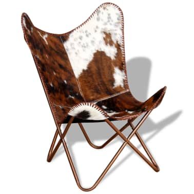 vidaXL Butterfly Chair Real Cowhide Leather Brown and White[4/10]