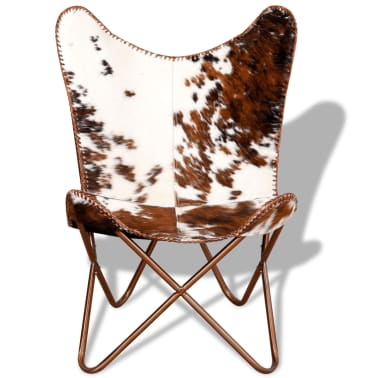 vidaXL Butterfly Chair Real Cowhide Leather Brown and White[6/10]