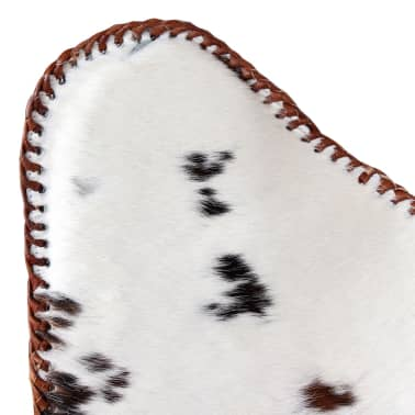 vidaXL Butterfly Chair Real Cowhide Leather Brown and White[8/10]