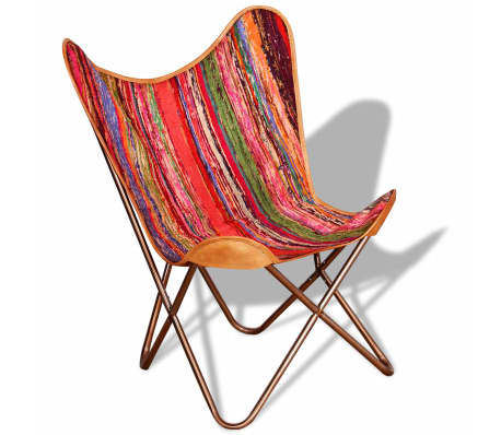vidaXL Butterfly Chair Multicolour Chindi Fabric