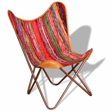 vidaXL Butterfly Chair Chindi Fabric Multicolor[1/10]