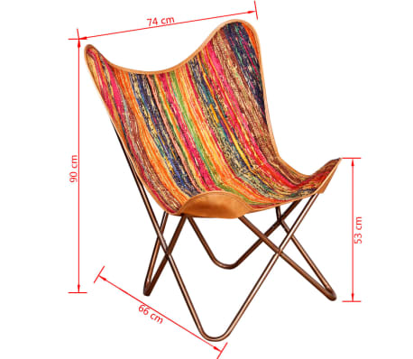 vidaXL Butterfly Chair Chindi Fabric Multicolor[10/10]
