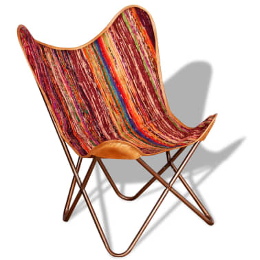 vidaXL Butterfly Chair Chindi Fabric Multicolor[2/10]