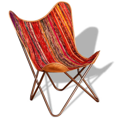 vidaXL Butterfly Chair Chindi Fabric Multicolor[3/10]