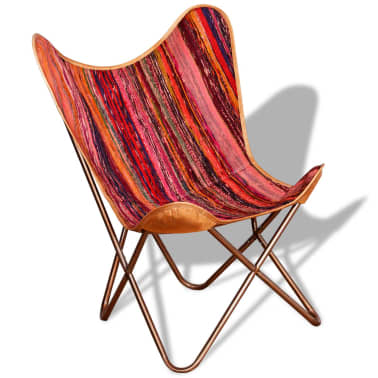 vidaXL Butterfly Chair Chindi Fabric Multicolor[4/10]