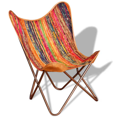 vidaXL Butterfly Chair Chindi Fabric Multicolor[5/10]