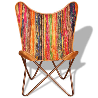 vidaXL Butterfly Chair Chindi Fabric Multicolor[6/10]