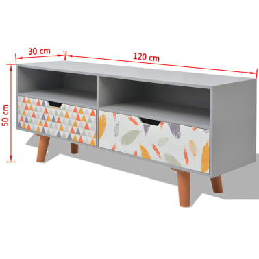 """vidaXL TV Cabinet MDF 47.2""""x11.8""""x19.7"""" Gray[7/7]"""