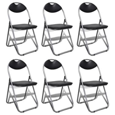 vidaXL Foldable Chairs 6 pcs Artificial Leather[1/9]