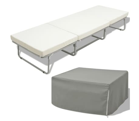 vidaxl lit tabouret pliant avec matelas 200 x 70 cm acier. Black Bedroom Furniture Sets. Home Design Ideas