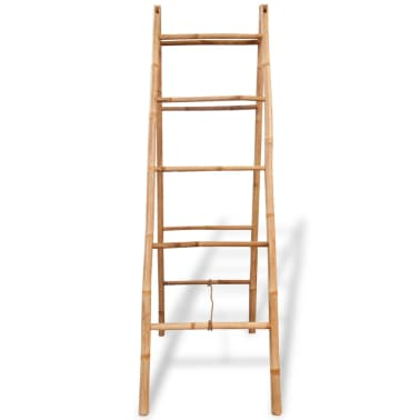 "vidaXL Double Towel Ladder with 5 Rungs Bamboo 19.7""x63""[2/5]"