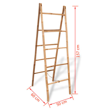 "vidaXL Double Towel Ladder with 5 Rungs Bamboo 19.7""x63""[5/5]"