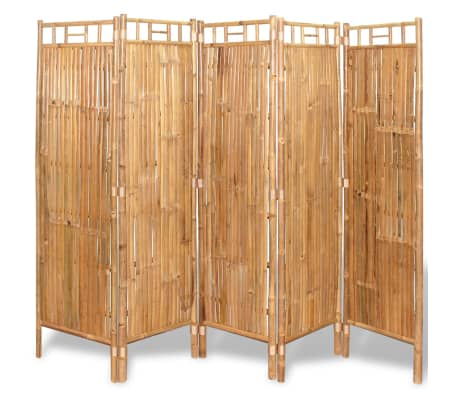 """vidaXL 5-Panel Room Divider Bamboo 78.7""""x63"""""""