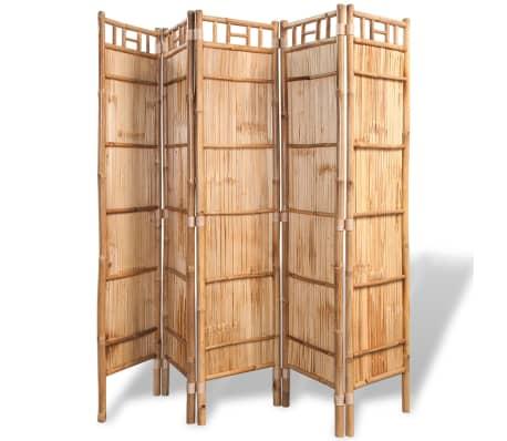 vidaXL Tilanjakaja 5 paneelia bambu 200x160 cm[2/6]