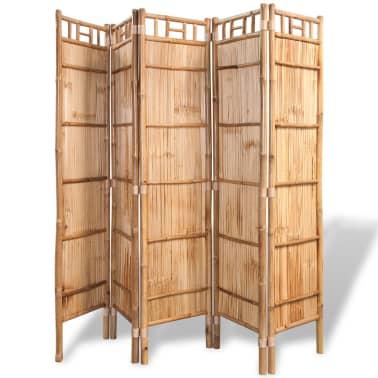 acheter vidaxl cloison de s paration 5 panneaux bambou 200 x 160 cm pas cher. Black Bedroom Furniture Sets. Home Design Ideas
