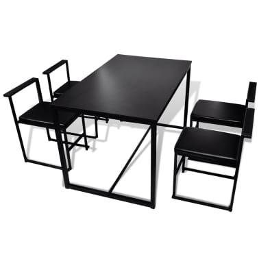 vidaxl 5 teilige essgruppe esstisch und st hle schwarz. Black Bedroom Furniture Sets. Home Design Ideas