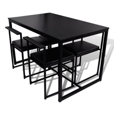 vidaxl 5 teilige essgruppe esstisch und st hle schwarz zum schn ppchenpreis. Black Bedroom Furniture Sets. Home Design Ideas
