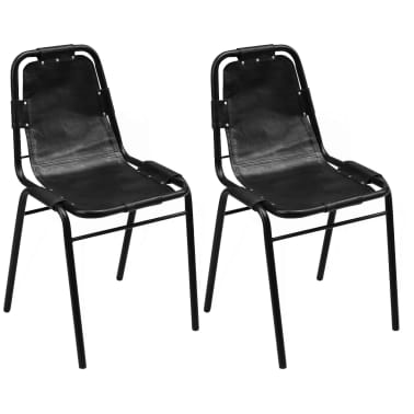 "vidaXL Dining Chairs 2 pcs Black 19.3""x20.5""x34.6"" Real Leather[1/5]"