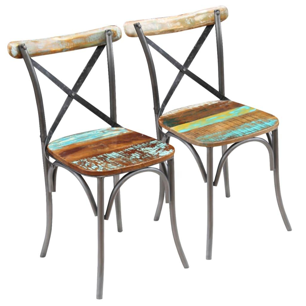 vidaXL Καρέκλες Τραπεζαρίας 2 τεμ. από Μασίφ Ανακυκλωμένο Ξύλο