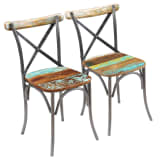vidaXL Dining Chairs 2 pcs Solid Reclaimed Wood 51x52x84 cm