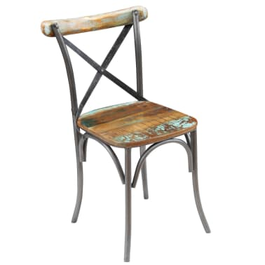 "vidaXL Dining Chairs 2 pcs Solid Reclaimed Wood 20""x20.5""x33""[2/9]"