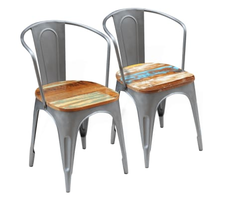 vidaXL Dining Chairs 2 pcs Solid Reclaimed Wood[1/9]