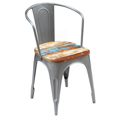 vidaXL Dining Chairs 2 pcs Solid Reclaimed Wood[4/9]