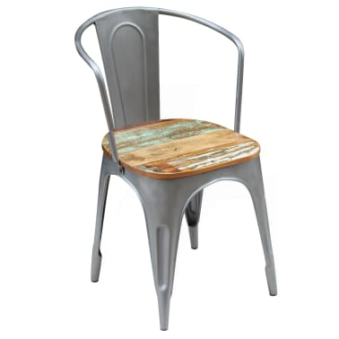 vidaXL Dining Chairs 2 pcs Solid Reclaimed Wood[6/9]