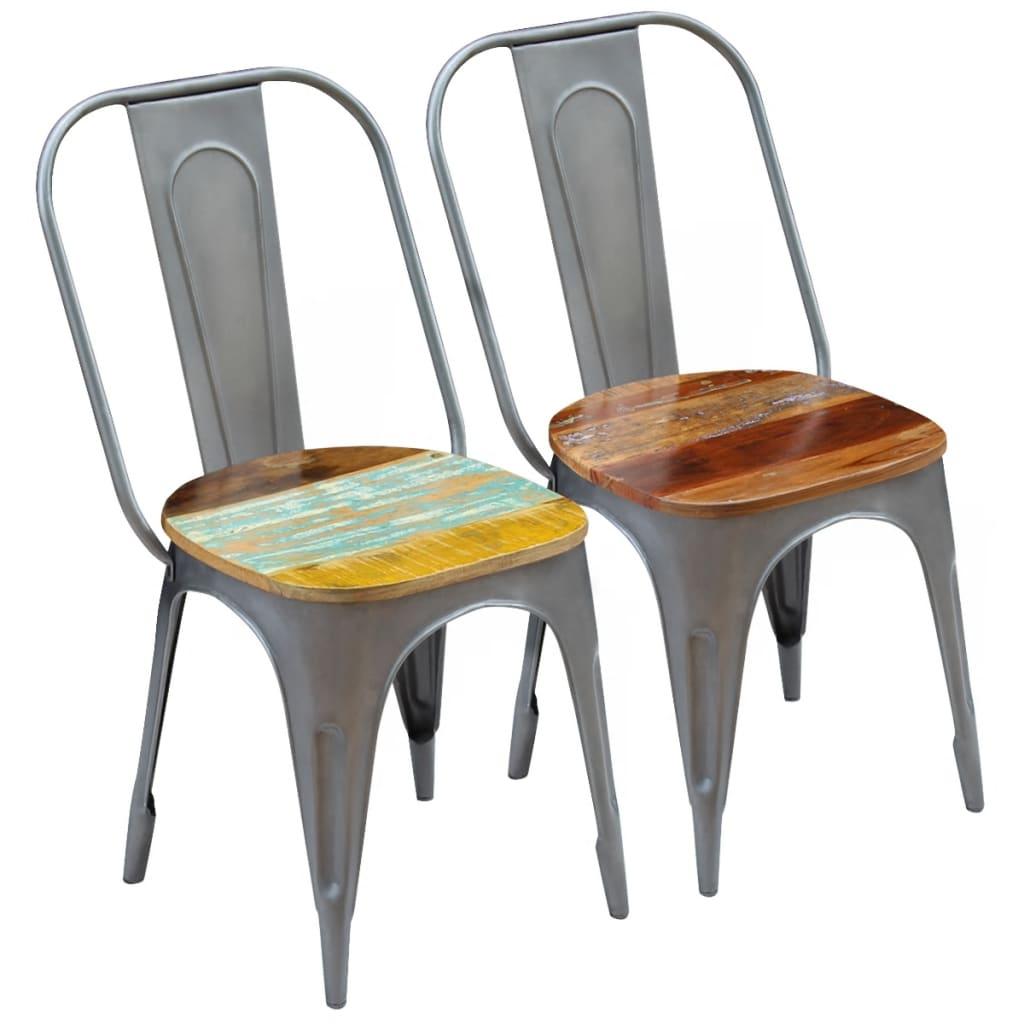 vidaXL Jídelní židle 2 ks masivní regenerované dřevo 47x52x89 cm