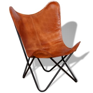 vidaXL Chaise papillon Cuir véritable Marron[2/7]