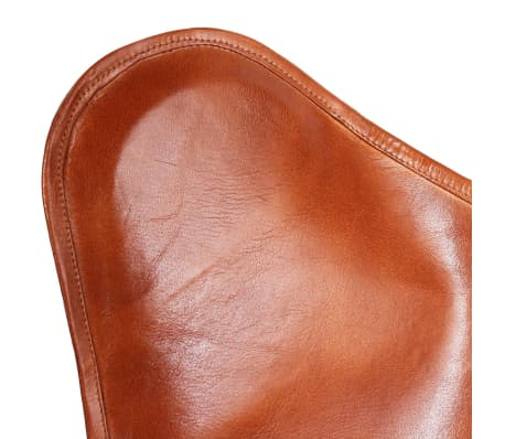 vidaXL Chaise papillon Cuir véritable Marron[5/7]