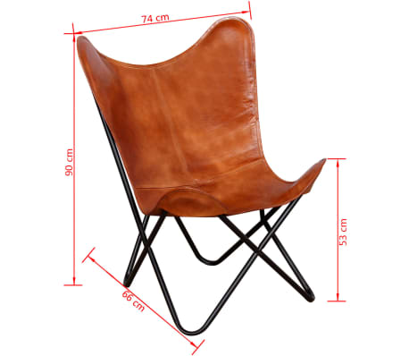 vidaXL Chaise papillon Cuir véritable Marron[6/7]