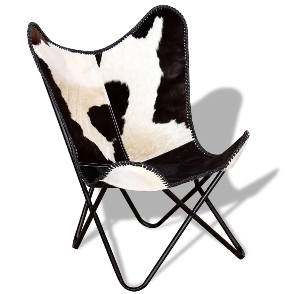 vidaXL Scaun fluture, negru și alb, piele de vacă naturală poza 2021 vidaXL